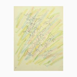 Litografia Study for the Wall di Jean Cocteau, 1956