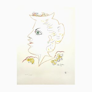 Lady with Flowered Hat Lithograph by Jean Cocteau, 1956