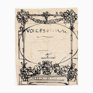 19th Century Decoration Ink on Paper by Gabriele Galantara