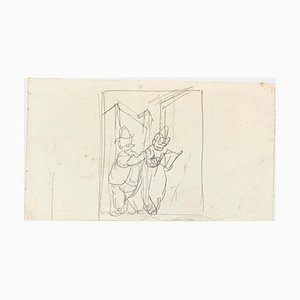 19th Century Figures Pencil on Paper by Gabriele Galantara