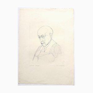 Portrait Radierung von André Roland Brudieux, 1960er