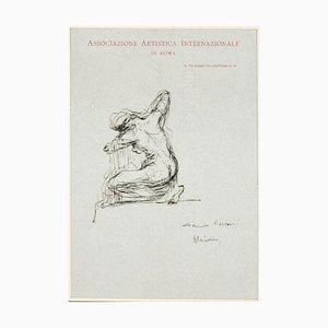 Feminine Figure Drawing in Pen by Giovanni Nicolini