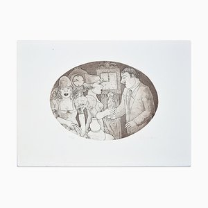 Meeting Etching by Paola Romano, 1970s