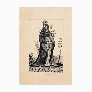 19th Century Sorrowful Madonna Etching
