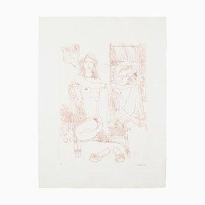 Nackte Radierung auf Papier von Sergio Barletta, 1980er