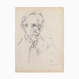 Portrait Original Feder auf Papier, 1950er
