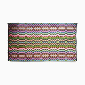 Large Hand Woven Colorful Missoni Style Wool Kilim Rug, 1970s