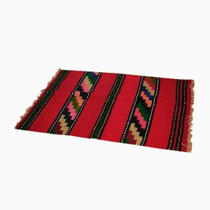 Small Romanian Handwoven Red Wool Runner Rug with Stripes