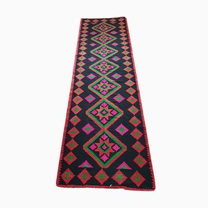 Large Moldavian Runner Rug with Stylized Flowers and Geometric Design, 1980s