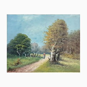 Antique Barbizon School Painting, The Lively Trail in the Forest