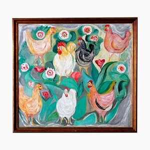 Hens Painting by Giuseppe Cesetti, 1960s