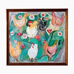 Peinture à Poules par Giuseppe Cesetti, 1960s
