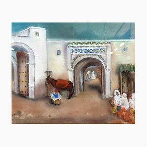 Pastel d'École Orientaliste Antique, Vue de Medina Animée