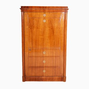 19th Century German Biedermeier Walnut 1-Door Wardrobe Cabinet, 1840s