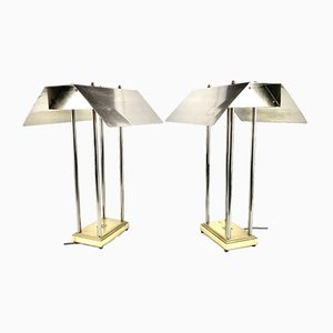 Vintage Brass Table Lamps by Peter Ghyczy for Mega Watt, Netherlands, 1981, Set of 2