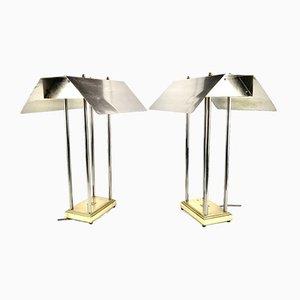 Vintage Messing Tischlampen von Peter Ghyczy für Mega Watt, Niederlande, 1981, 2er Set