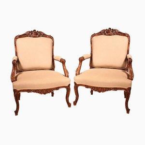 Queen Regency Style Armchairs in Walnut, 19th-Century, Set of 2
