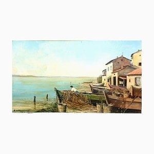 Pintura escolar francesa, puerto pesquero de Santa Maria, años 50