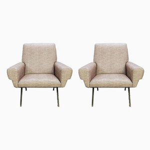 Italian Armchairs With Black Metal Structures, 1960s, Set of 2