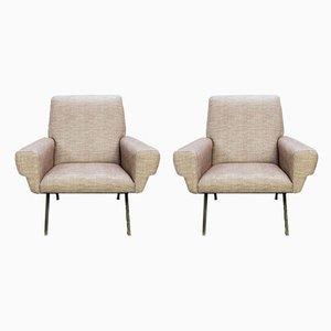 Italienische Sessel mit schwarzen Metallstrukturen, 1960er, 2er Set