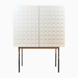 White Lacquered Wood Graphic Cabinet with Chrome Legs, 1970s