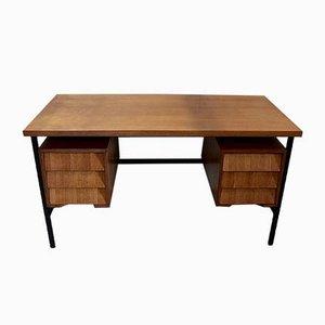 Eichenholz Furnier Schreibtisch mit Metallbeinen, 1940er