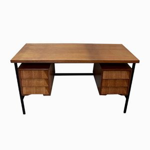 Oak Veneer Desk with Metal Legs, 1940s