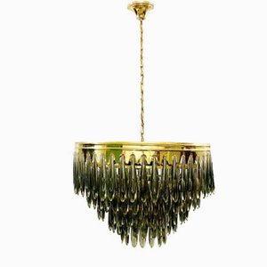 Italian Smoke Glass Drop Chandelier