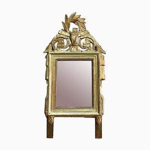 Kleiner Antiker Spiegel im vergoldeten Holzrahmen im Louis XVI Stil