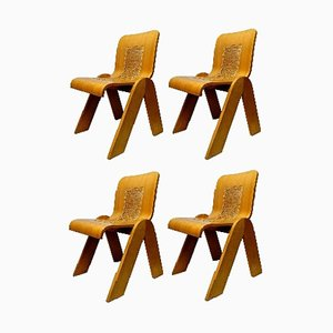 Plywood Dining Chairs by Gigi Sabadin for Stilwood, 1970s, Set of 4