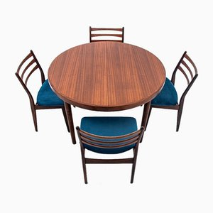 Dining Table & Chairs Set, 1960s, Set of 5