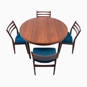 Set da pranzo con tavolo e sedie, anni '60, set di 5