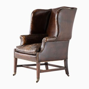 Late 19th-Century Mahogany Leather Wing Chair