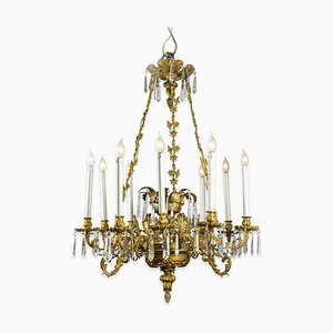 Antique Golden Bronze 9-Light Chandelier