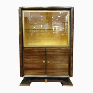 Vintage Art Deco Hardwood, Brass and Lemongrass Cabinet from Ruhlmann