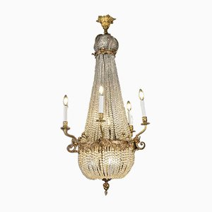 19th Century Empire Crystal and Gilded Bronze Chandelier