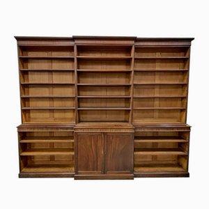 Großes Georgianisches Mahagoni Breakfront Open Bücherregal