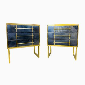 Mid-Century Italian Pearl Glass and Brass Chest of Drawers, Set of 2