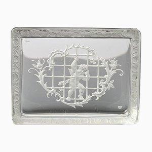 Scatola in vetro intagliato boemo di Heinrich Hoffmann, anni '30