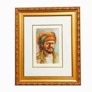 Acuarela de escuela orientalista, retrato de un hombre, años 60