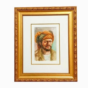 Orientalist School Watercolor, Portrait of a Man, 1960s