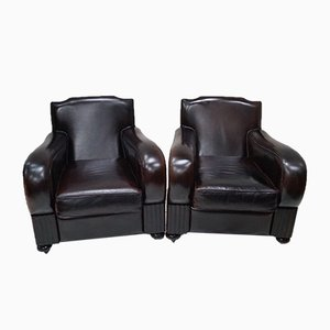 French Art Deco Leather Club Chairs, 1940s, Set of 2