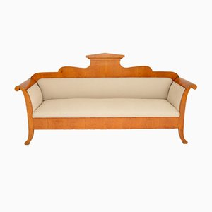 Antique Swedish Biedermeier Satin Birch Sofa
