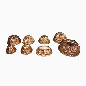 Copper Kouglof Molds, Set of 8
