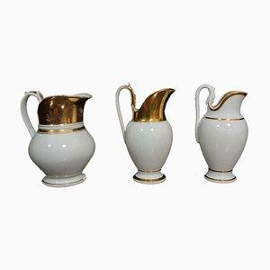 Pichets de Style Empire avec Porcelaine Blanche et Dorure, Set de 3