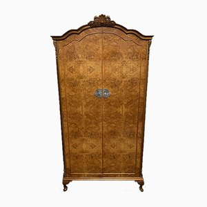Queen Anne Burr Walnut 2 Door Wardrobe