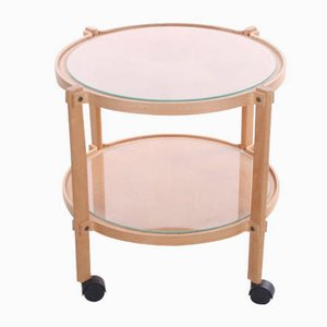 Round Wooden Trolley With Glass Plates and Wheels