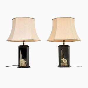 Lampes de Bureau Vintage en Chinoiserie Laqué et en Laiton, 1970s, Set de 2
