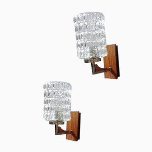 Mid-Century Wandleuchten aus Nussholz & Glas von Hustadt Leuchten, 2er Set