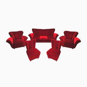 Sofa Set mit Sesseln, 1950er